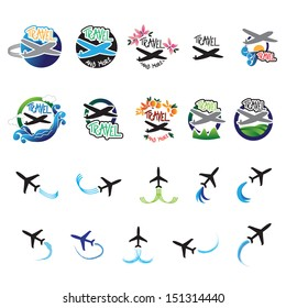 Airplane Icons Set - Isolated On White Background - Vector Illustration, Graphic Design Editable For Your Design. Airplane Logo