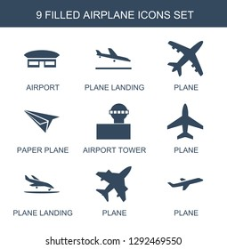 airplane icons. Trendy 9 airplane icons. Contain icons such as airport, plane landing, plane, paper plane, airport tower. airplane icon for web and mobile.