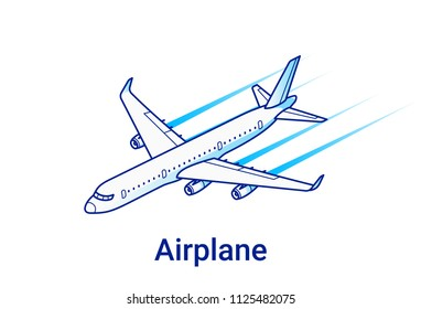 Airplane illustration in linear isometric style. Concept with modern jet plane. Minimal art line.