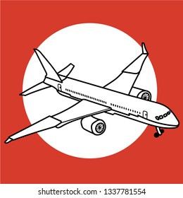 Airplane illustration on red background.