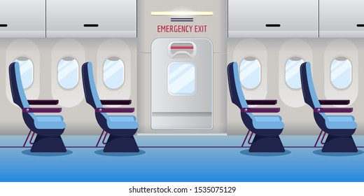 Airplane inside. Empty plane interior with emergency exit door. Vector flat cartoon illustration. Safety aircraft flight concept.