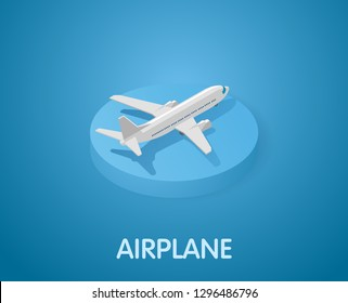 Airplane isometric icon. Vector illustration. 3d concept
