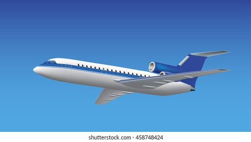 Airplane jet passenger airliner. White and blue flying airplane isolated on the blue background. Vector illustration