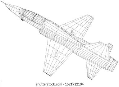 Airplane jet sketch. Vector of 3d. Wire-frame style.