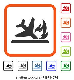 Airplane Landing Crash icon. Flat gray iconic symbol in an orange rounded square. Black, gray, green, blue, red, orange color versions of Airplane Landing Crash vector.