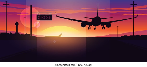 Airplane landing at sunset. Panoramic view of the evening airport