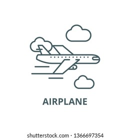 Airplane line icon, vector. Airplane outline sign, concept symbol, flat illustration