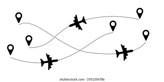 Airplane line path. Air plane flight route with start point. Vector Aircraft sign. GPS, location pointer. Tracking, trace and track vacation, holliday. Travel pointer navigation. Tourism, city map.