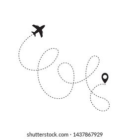 Airplane line path icon of air plane flight route with start point and dash line trac. Vector illustration