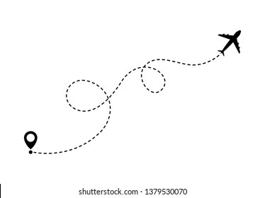 Airplane line path travel vector illustration on background