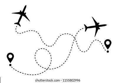Airplane line path vector icon of air plane flight route with start point and dash line trace. Aircraft clip art icon with route path track in black and white. Airplane way simple vector illustration.