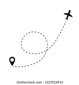 Airplane line path vector icon of air plane. Vector illustration.