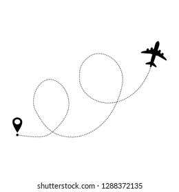 Airplane line path vector icon of air plane flight route with start point and dash line trace. Vector illustration isolated on white