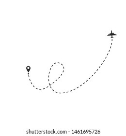 Airplane line path vector icon of air plane flight route with start point