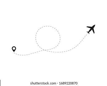 Airplane line path vector icon illustration of air plane flight route with start point and line trace isolated on white background