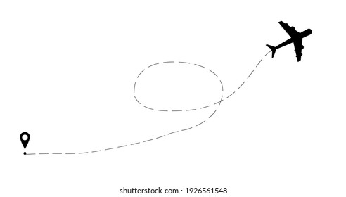 Airplane line path vector icon of airplane flight route with start point and dash line trace