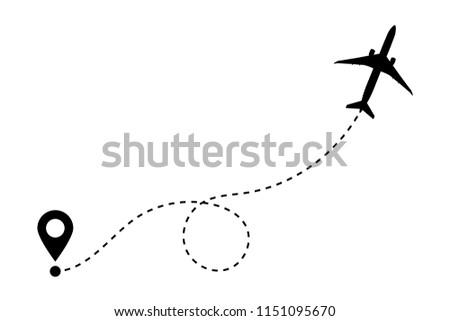 Airplane Line Path Vector Icon Air Stock Vektorgrafik Lizenzfrei