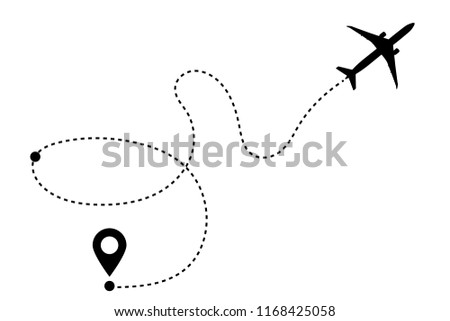 Airplane Line Path Vector Icon Air Stock Vector Royalty Free