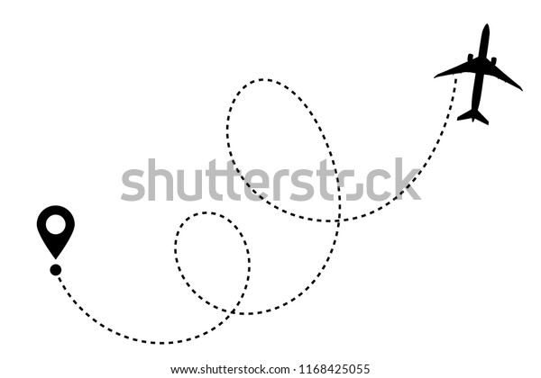 Airplane line path vector icon of air plane flight route with start point and dash line trace. Aircraft clip art icon with route path track in black and white. Airplane minimal vector illustration.