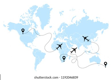 Airplane line path vector icons of air plane flight routes with start points and dash line traces. Aircraft clip art icon with route path track in blue black white. Airplane and world map vector.