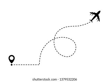 Airplane line path vector on background
