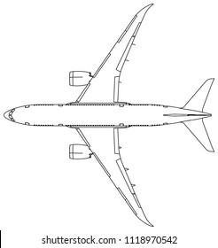 Airplane lines illustration. Abstract vector aircraft on the white background