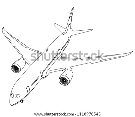 Airplane Lines Illustration Abstract Vector Aircraft Stock Vector