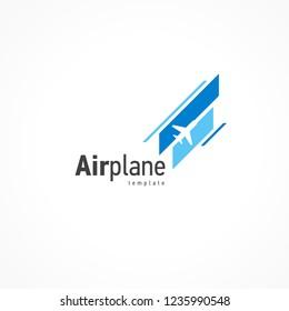 Airplane logo blue flight takeoff stripes up
