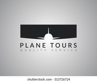 Airplane Logo Design on grey gradient background. Vector.