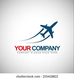 Airplane Logo Design. Vector Shape of a plane with trails.
