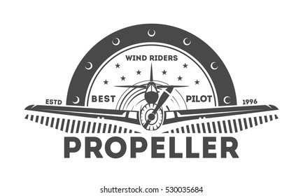 Airplane logo isolated label vector illustration. Wind riders show and best pilot symbols. Airplane academy and flying club logo