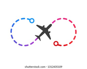 Airplane logo on color flight route from point A to point B vector illustration. Isolated simple plane on white background
