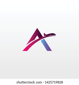 Airplane logo template. Combined letters A and airplanes in unique shapes in light background. The logo can also be used for travel logos