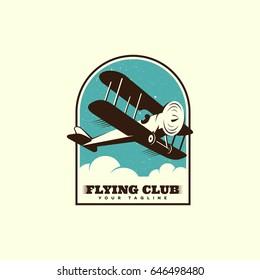 Airplane logo template design. Vector illustration.