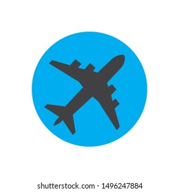 Airplane logo Template vector illustration icon design on blue background