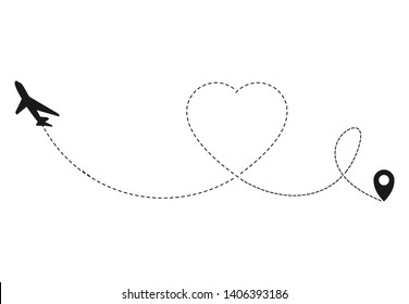 Airplane love travel concept.  Romantic travel,  airplane dashed line trace and plane routes