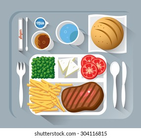 Airplane lunch - vector illustration