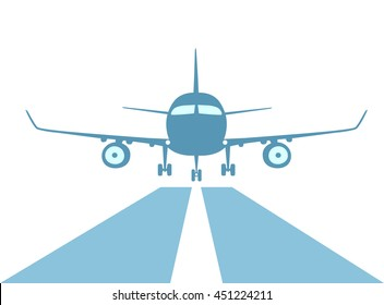Airplane make good landing with an excellent approach to runway.  Symbol of the proper attitude. Flat style. Vector illustration. Isolated on white background.