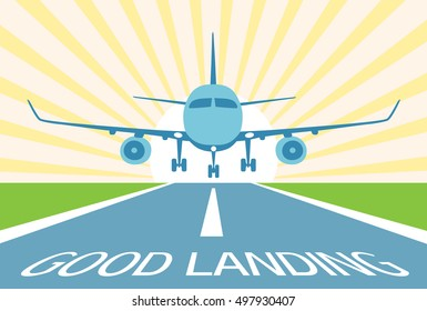 Airplane make good landing. Symbol excellent approach to runway. On sunrise (sunset) background. Flat style. Vector illustration.