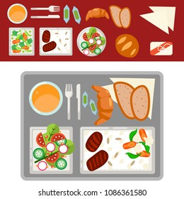 Airplane meal on tray vector illustration.