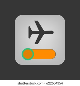 Airplane mode icon on the grey background. Vector illustration