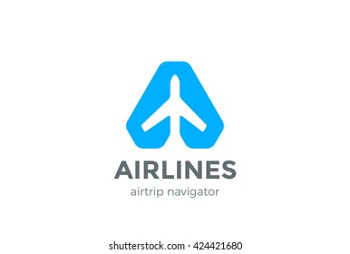Airplane Navigator Pointer Logo abstract design vector template Negative space style. Air Plane Aircraft Aviation Cargo Map Geo Navigation Logotype concept icon