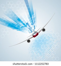 Airplane on an abstract technology background.use layer overlay effect.