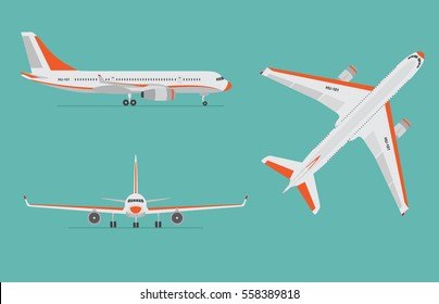 Airplane on blue background. Airliner in top, side, front view. Flat style. Vector illustration.