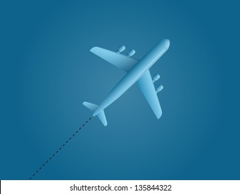 Airplane on blue background. Vector illustration.