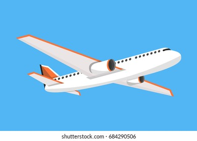 Airplane on a isolated blue background. Flat vector illustration.