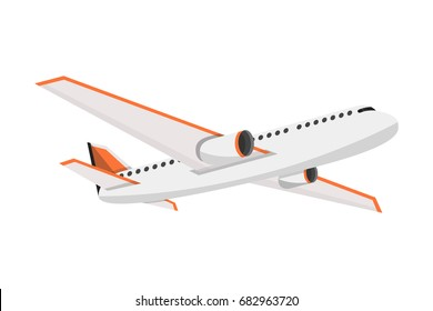 Airplane on a isolated white background. Flat vector illustration.