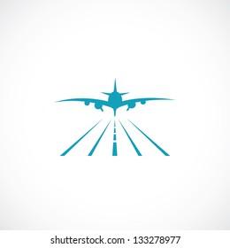 Airplane on runway - vector illustration
