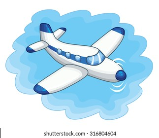 Airplane on a sky background icon.