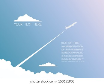 Airplane on sky text